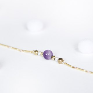 Simple linear bracelet / small energy - brass amethyst pearl bracelet Christmas gifts