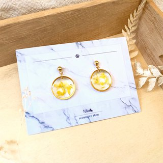 [Flower full moon] light jade color dry flower series earrings (can be changed ear clip)