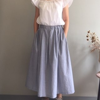 Kana exclusive order / Tuile Park / elegant free blue and white pinstripe long skirt 100% cotton