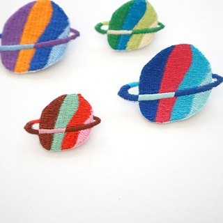 Purple orange planet embroidery pin / patch