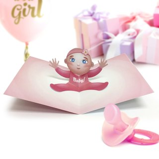 Baby Girl Card | Baby Birthday Card | Baby Girl Birthday Card | Baby Pop Up Card