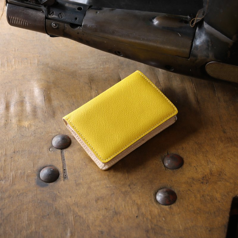 Japan Manufacturer's cowhide name one-sided name piece cup yellow Weinheimer made in JAPAN handmade leather card case