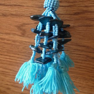 Fair Trade Vivid Tassel Bag Accessories With Natural Coconut Beads Blue