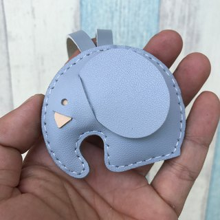 Handmade leather gray cute elephant handmade sewn leather charm small size