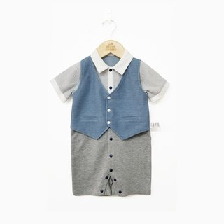 Original design baby gentleman shirt vest fake two short-sleeved jumpsuit baby climbing clothes full moon gift package fart clothing