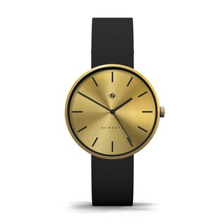 THE DRUMLINE - BLACK & GOLD LEATHER STRAP WATCH