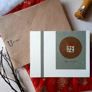 Hand-stitch image Christmas card (gift) (original)