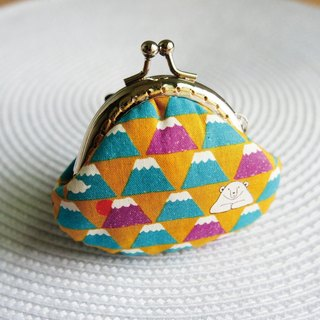 Lovely [Japanese cloth order system] and the wind hand-painted Fuji Yamaguchi gold coin purse, gold bottom