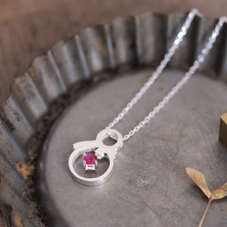 Ruby snowman necklace silver925