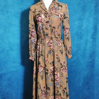 When vintage [antique dress / elegant antique flowers chiffon long dress] abroad back to vintage long dress VINTAGE
