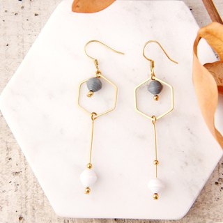 MUSEV simple geometric gray small paper beads earrings