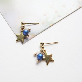 Rosy Garden le petit prince dark blue pearl with little star earrings