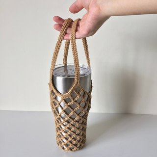 Xiao fabric ice tyrant cup Mason cup ramie line hand-woven double ear bag khaki spot one