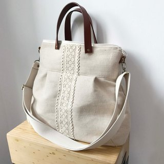 2 way Cross Body Bag leather handle bag, cotton and linen leather bag, handbag. backpack
