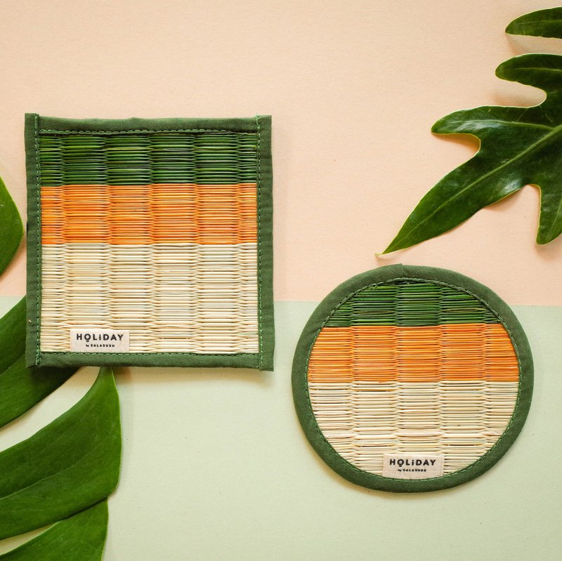 繽紛假期藺草杯墊-森林靜謐綠/方型/圓型