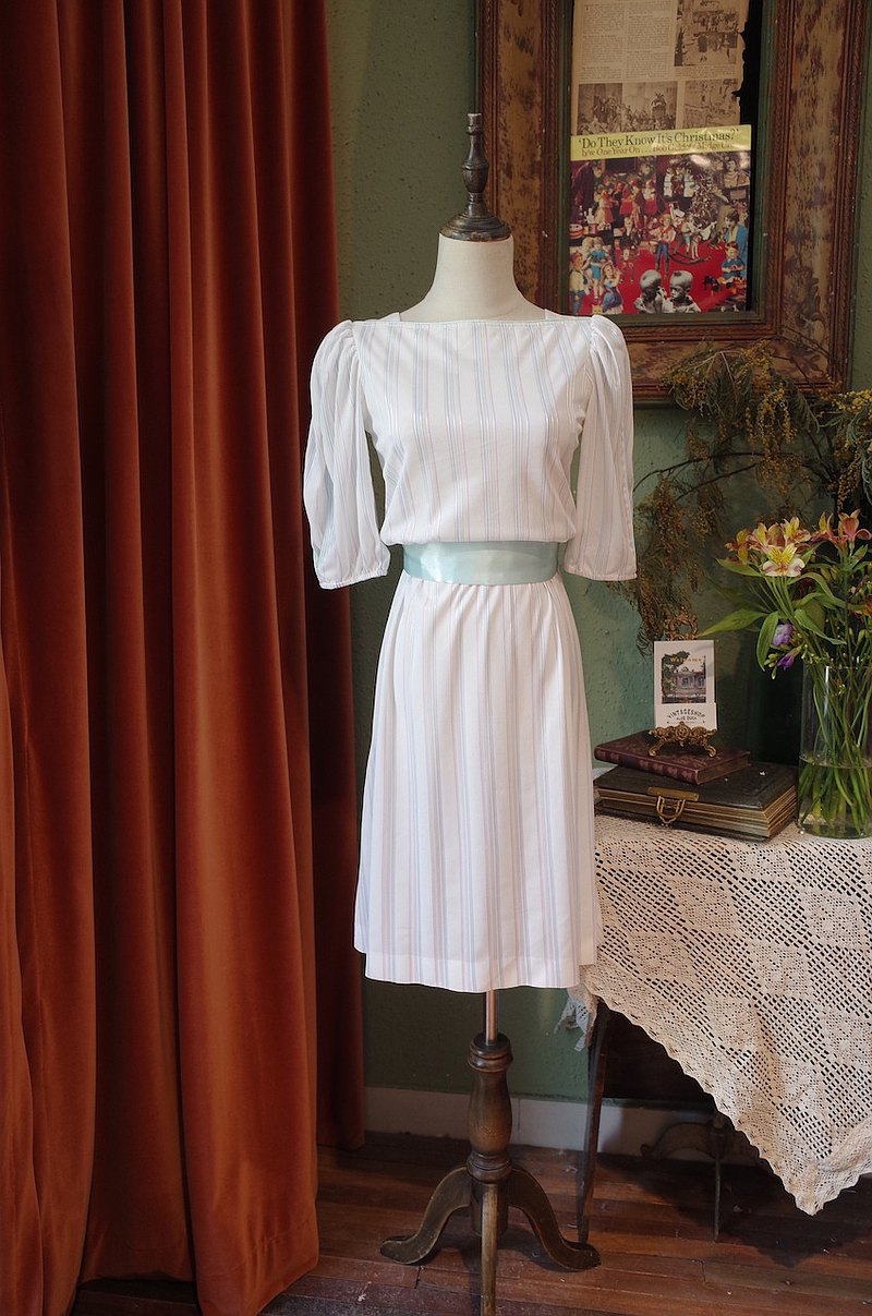 vintage dress燈籠袖條紋連衣裙古著洋裝