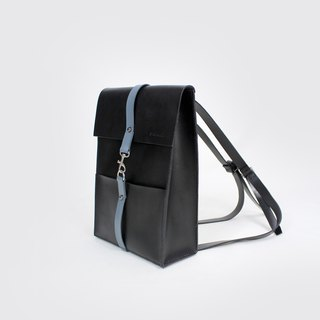 Tanela brand leather back pack in black color with grey leather strap