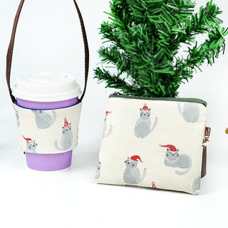Maverick Village Green Drink Bag Coin Purse Christmas Gift [petty gift Christmas ceremony - Red Hat Little Gray Cat]