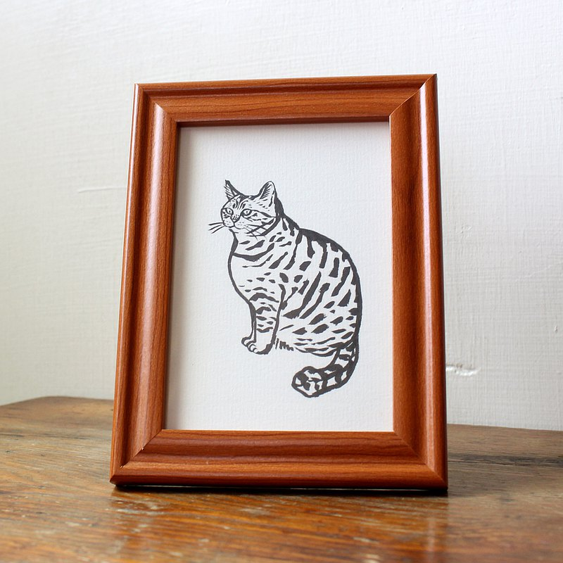 Custom cat portrait  illustration black and white