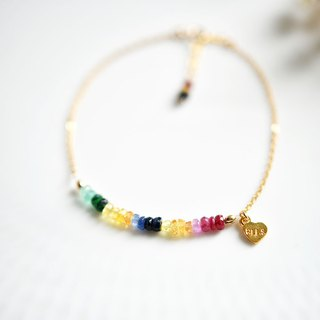 Colorful rainbow bracelet victory + calm + wisdom Emerald ruby ​​sapphire