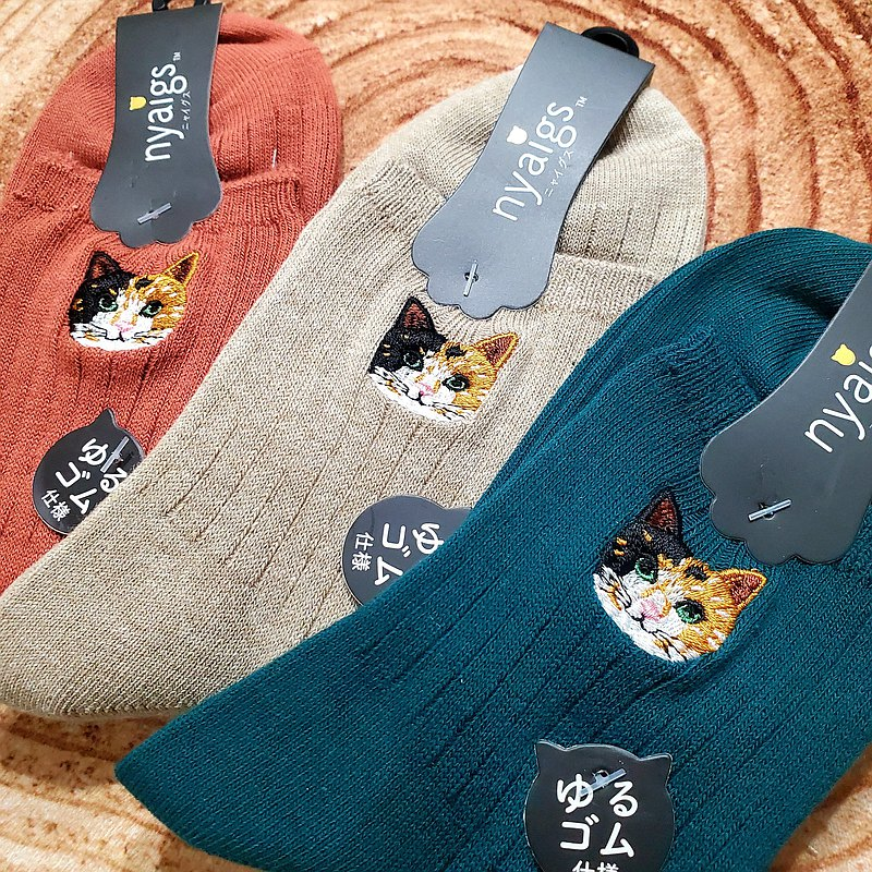 Cat ankle socks【nyaigs】 Calico cat 3pieces set