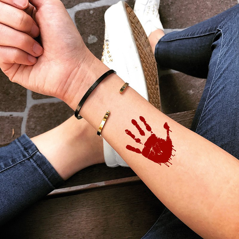 Bloody Palm Temporary Fake Tattoo Sticker (Set of 2) - OhMyTat
