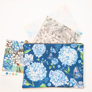Classic blue flower - Clutch bag L 30x25 cm - Hydrangea on canvas