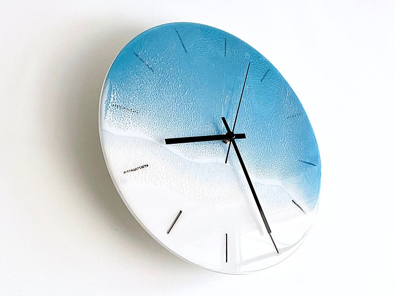 Wall Clock, Steel Blue Ocean, Housewarming, Unique Gift, Home decoration