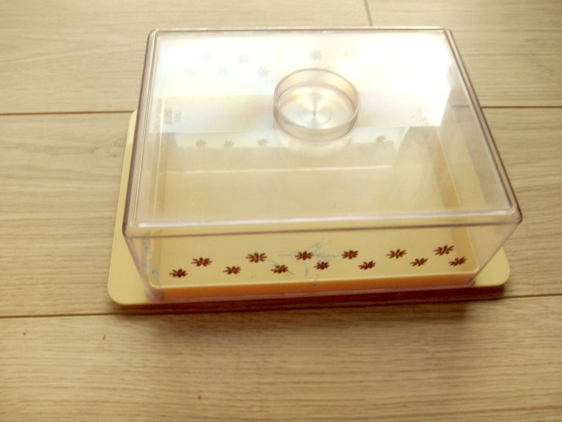 1970s Finland plastex tea colored brown plastic flower box saved