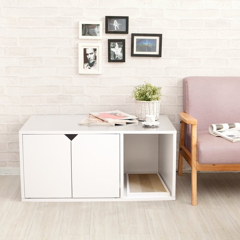 Cat Litter Box Furniture White Designer Angle Wave Other Pinkoi