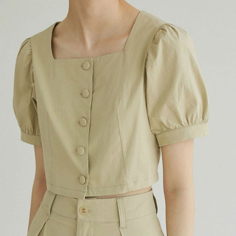 Light Khaki 2 Color Retro Square Collar Bubble Sleeve Waist Slim Top French Elegant Simple Single-Breasted Short Sleeve