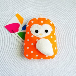 Lovely owl love face, multi-purpose hand made purse, little orange