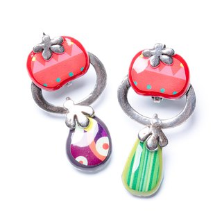 【French TARATATA】 leek series cold enamel integrated vegetable earrings
