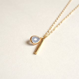 """KeepitPetite"" Simple drops blue glass stone tranquil · · · cylindrical rod imports gilded gold plated necklace (40cm / 16 inches)"