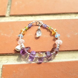 Girl Crystal World - The Rhythm of Palette - Quintet Amethyst Handmade Bracelet Heart Remanufactured