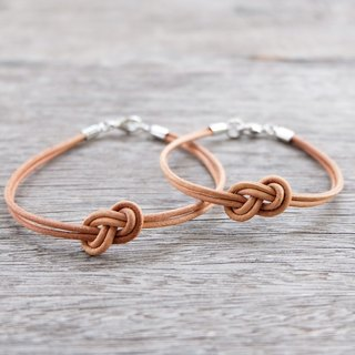"""THIS'S FOR 2 PIECES""   His and Her genuine leather bracelet in natural color"