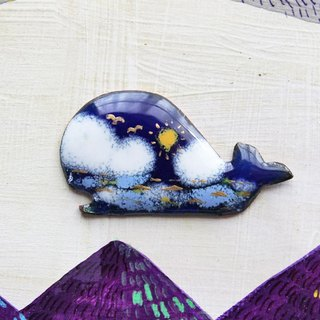 "enamel brooch ""the sky and the sea and whale"""