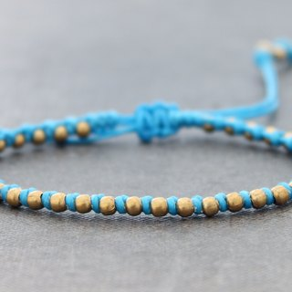 Bright Blue Brass Woven Bracelets, Braided Beaded Friendship Bracelets, Cute Simple Beads Bracelets