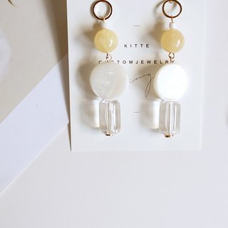 [yei #2 Yellow Agate Earrings] Sterile Silver Ear Pins/Clips-made
