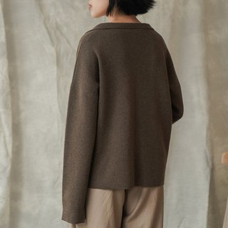 Better yourself | Brown French heavy imported yarn knit full wool casual suit cardigan coat