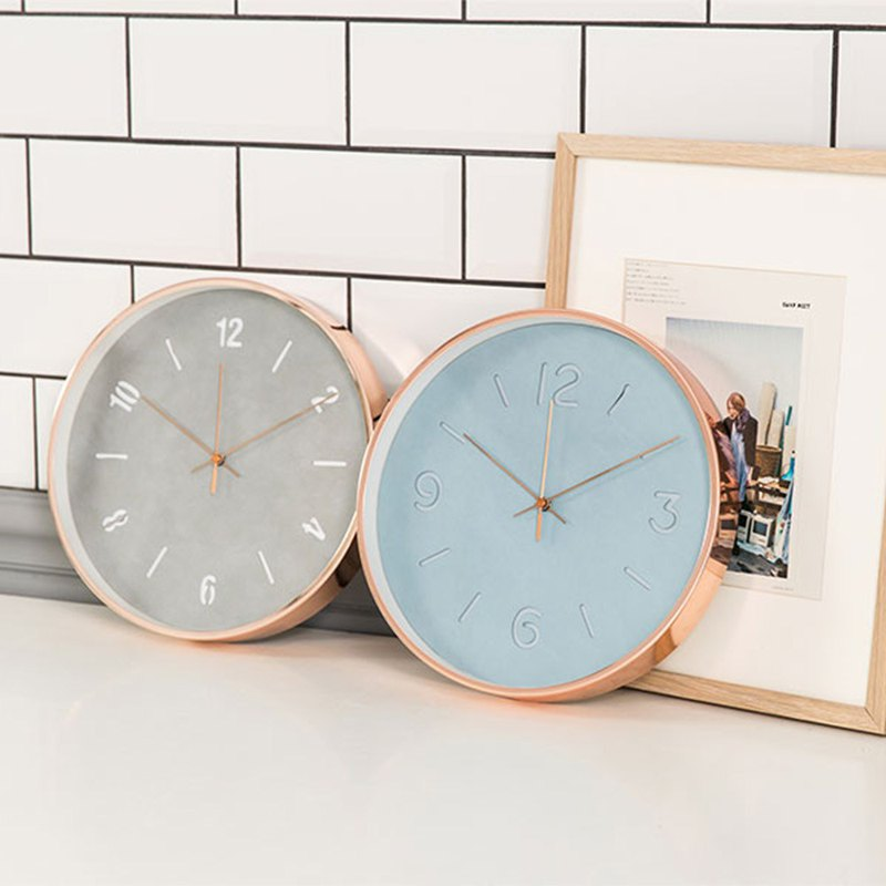 Lovel 30cm rose gold frame leather mute clock - a total of 2 models
