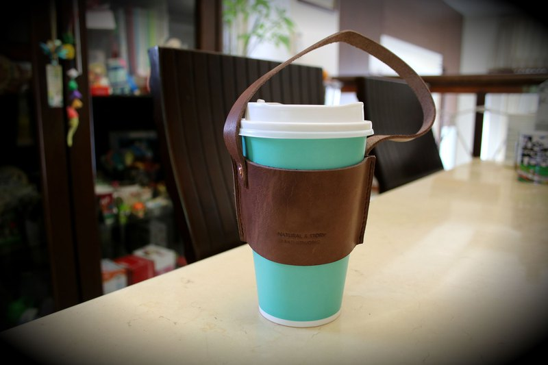 [NS Leather] Eco-friendly beverage bag, leather green cup bag, coffee bag (free printing)