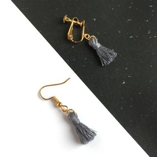 Handmade Tassel Earrings Earclips Rose Gold Series-dark grey limited