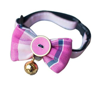 Dog Collar Bowknot Plaid Pink Barbie