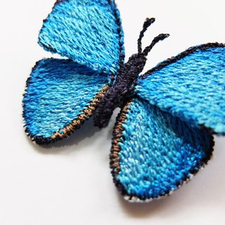 Embroidery Butterfly Brooch / Menelaus Blue Morpho Butterfly (medium)