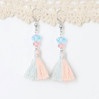 Two tassels. Powder blue powder orange. Swarovski. Earrings Two Colorway Tassel. Pastel Blue Pastel Orange. Swarovski Crystal. Earrings