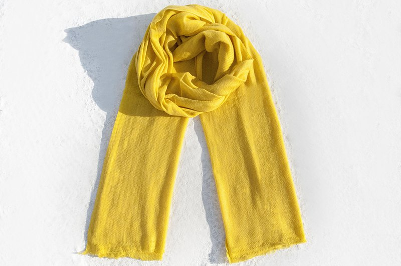 Pashmina Cashmere Scarf Knitted Scarf Hand Knitted Cashmere/Cashmere Scarf/Pure Wool Scarf Shawl/Ring Velvet Shawl-Sunshine Yellow
