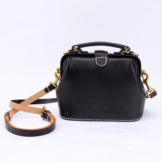 [Cut line] doctor bag mouth gold bag pure hand sewing tanned leather leather retro carved lady cute shoulder bag handbag hand black
