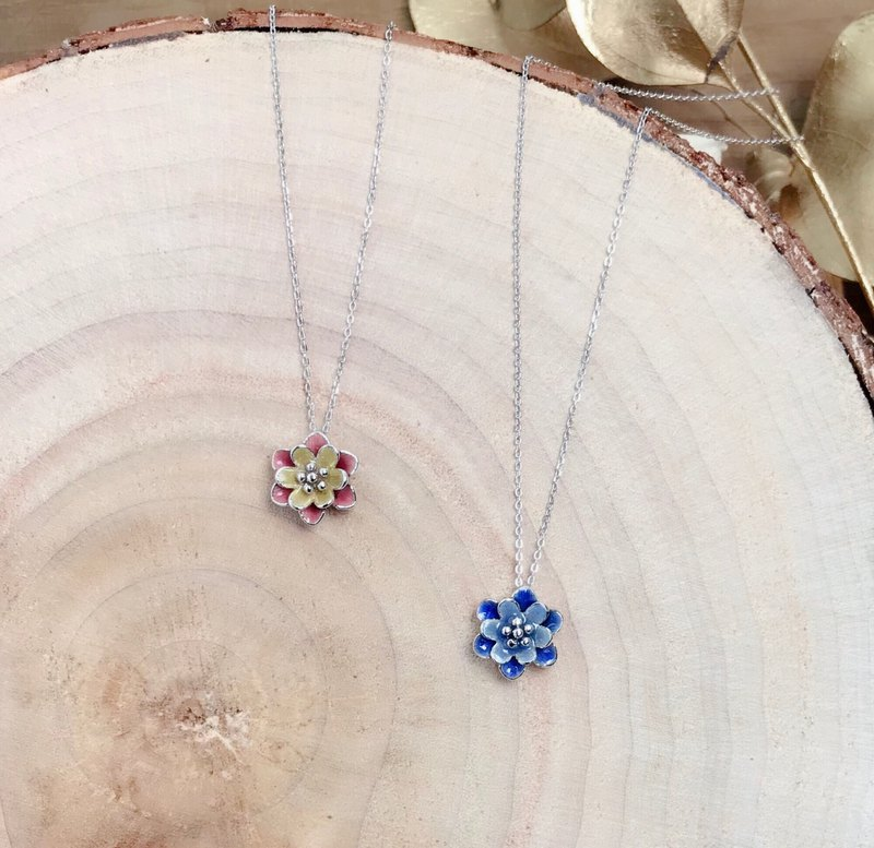 Blue Lotus / Pink Lotus sterling silver necklace