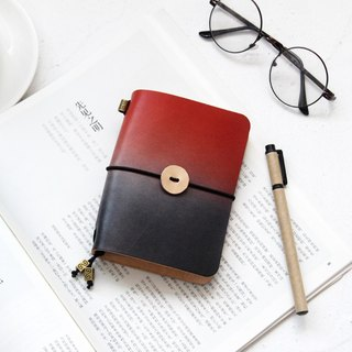 Red Day Contrast Handmade Leather Notebook Log Notepad Handbook Diary Customization